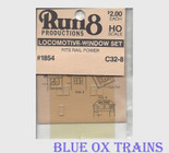 Run8 1854 Window Set - C32-8 Rail Power Kit HO Scale