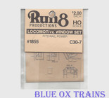 Run8 1855 Window Set - C30-7 Rail Power Kit HO Scale