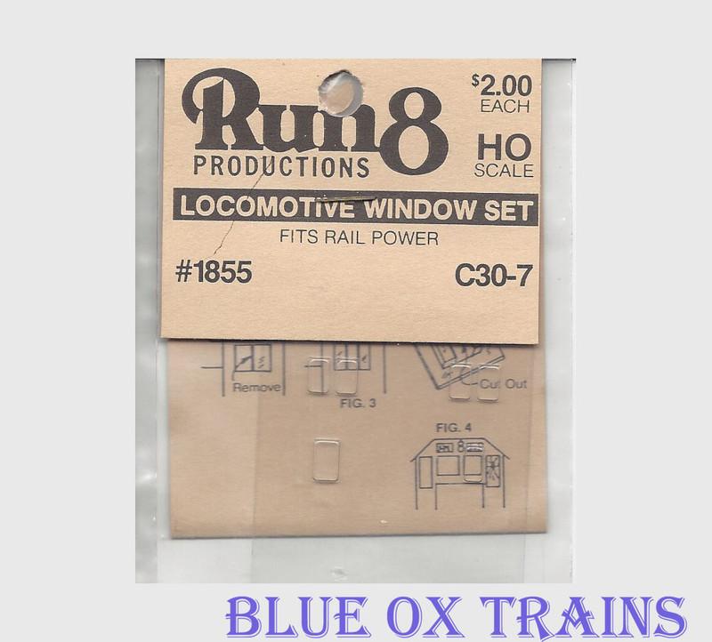 Run8 1855 Window Set - C30-7 Rail Power Kit HO Scale