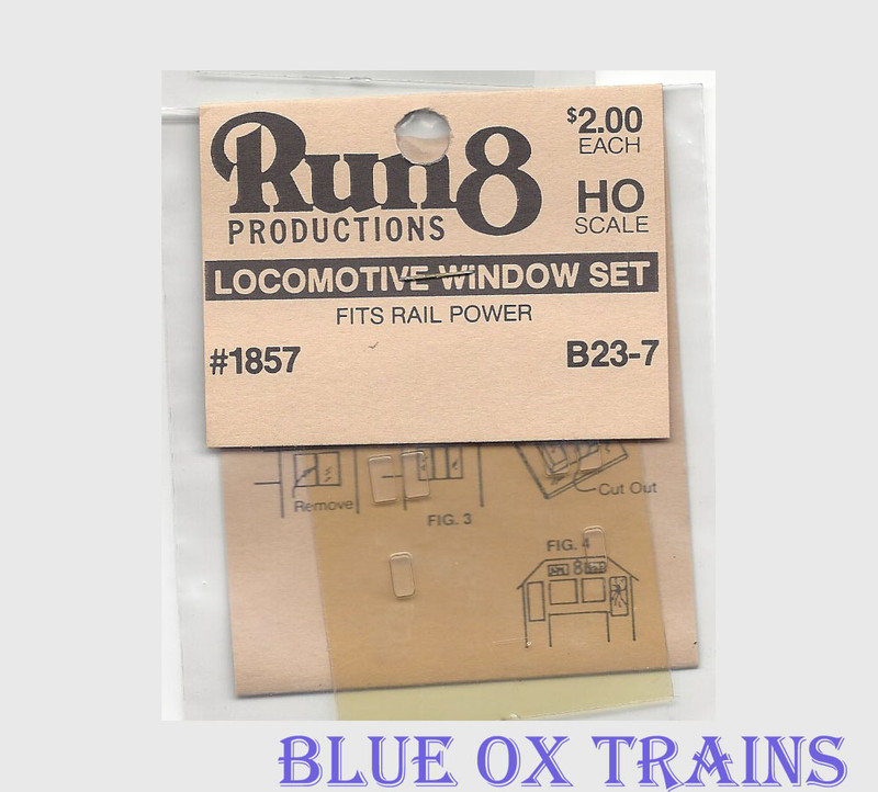 Run8 1857 Window Set - B23-7 Rail Power Kit HO Scale