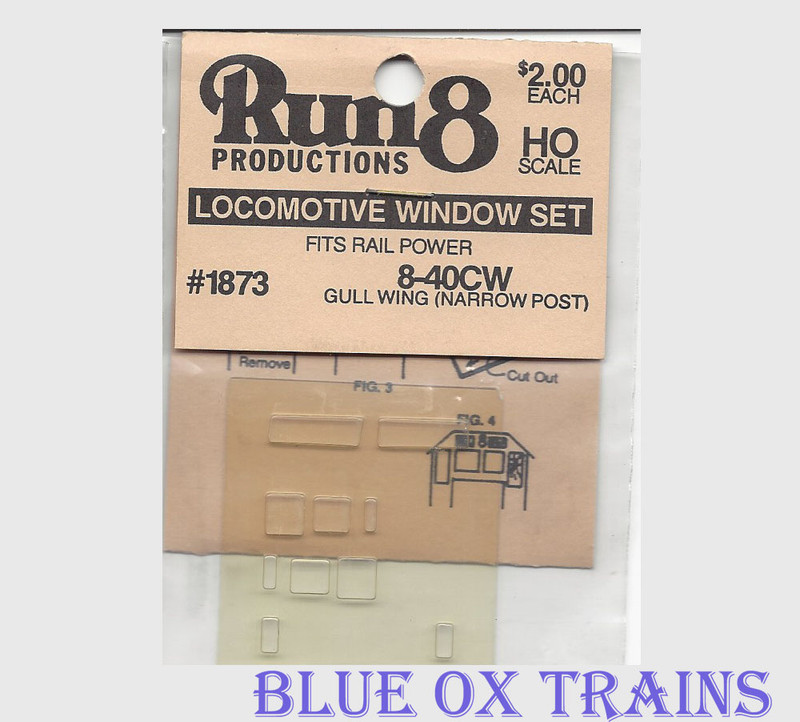 Run8 1873 Window Set - 8-40CW Gullwing Narrow Post Rail Power Kit HO Scale