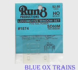 Run8 1874 Window Set - SD60M Two Window Rail Power Kit HO Scale