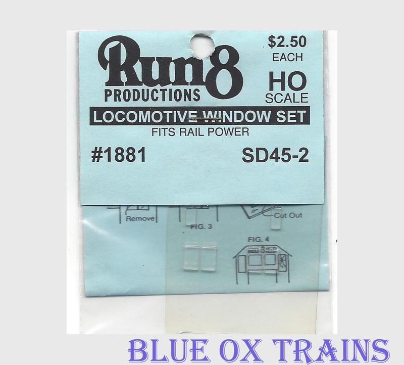 Run8 1881 Window Set - SD45-2 Rail Power Kit HO Scale