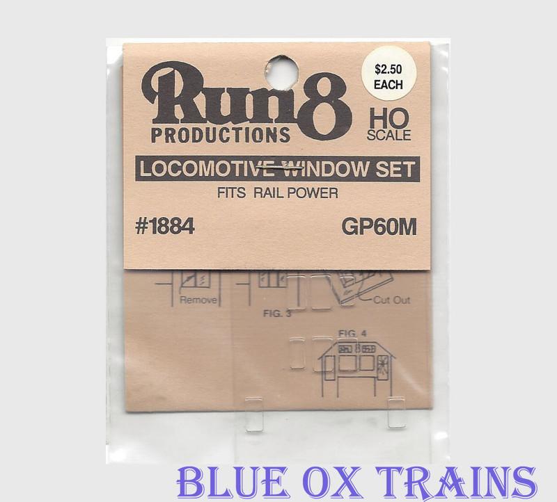 Run8 1884 Window Set - GP60M Rail Power Kit HO Scale