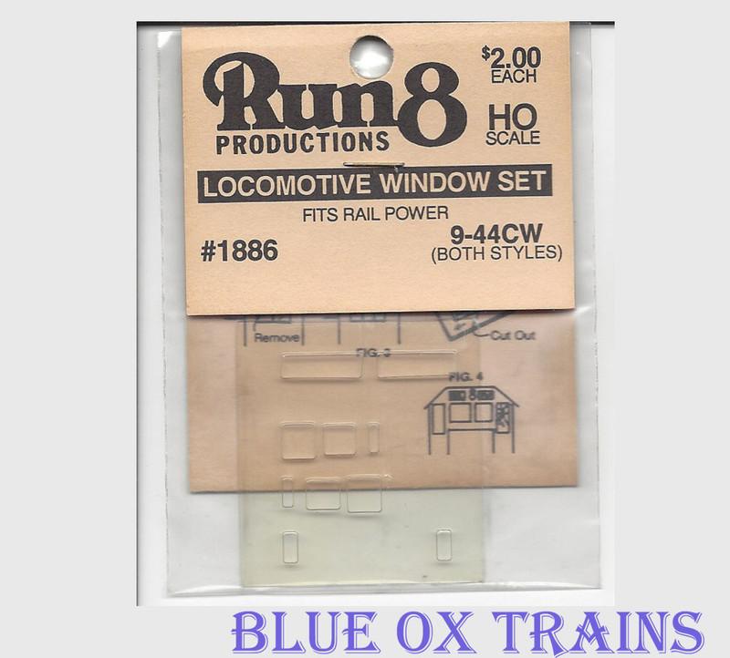 Run8 1886 Window Set - Dash 9 44CW Rail Power Kit HO Scale
