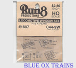 Run8 1887 Window Set - Dash C44-9W All Styles Rail Power Kit HO Scale