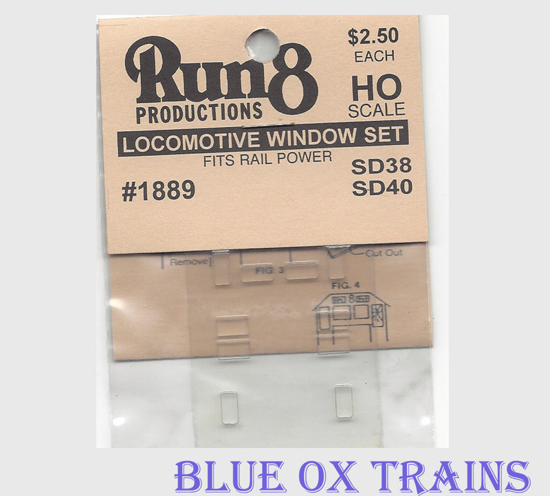 Run8 1889 Window Set - SD38 SD40 Rail Power Kit HO Scale