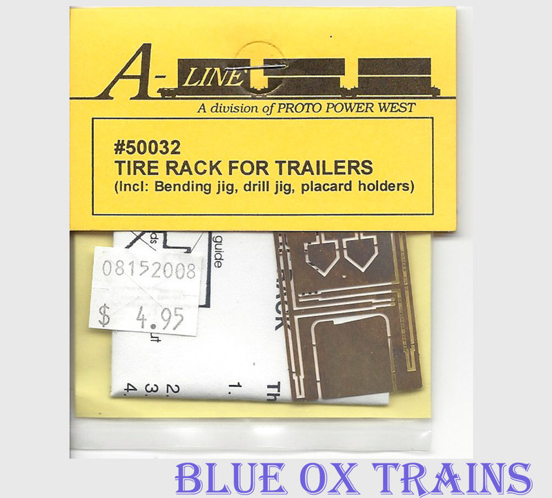 A-Line 50032 Trailer Tire Rack, Photo-Etched Brass Fits All Trailers, pkg(2) HO Scale