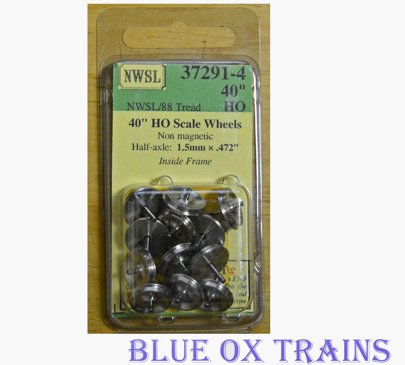 "NWSL 37291-4 40"" /88 half axle, 1.5mm wheelset Inside Frame, Newer Style (12/pkg) non-magnetic HO Scale"