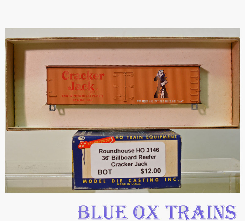 Roundhouse 3146 36' Billboard Reefer Cracker Jack CJBI 638 HO Scale Kit