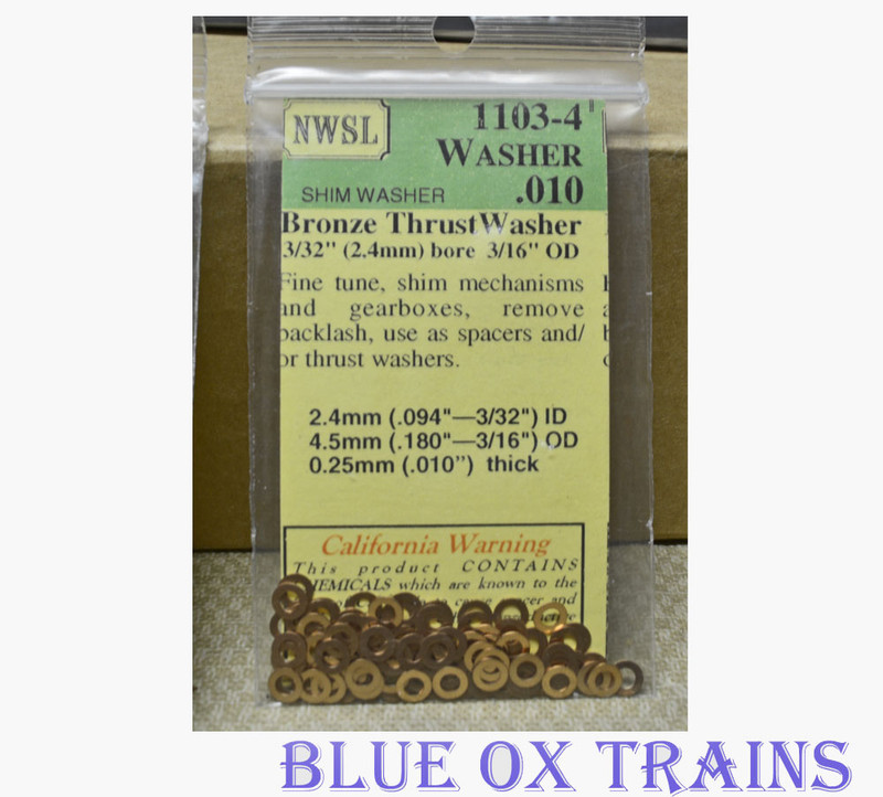 "NWSL 1103-4 Thrust Washers 3/32"" Inside Diameter, 3/16"" Outside Diameter, .010"" Thickness, Bronze Metal"