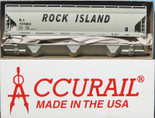 ACCURAIL HO ACF 3-BAY COVERED HOPPER Rock Island RI Kit 2054