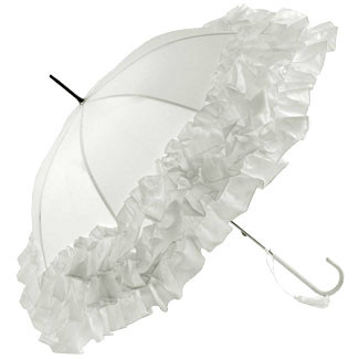 Frill Edge Umbrella - White