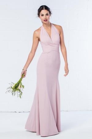 V-neck chiffon halterneck sheath dress