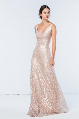 Fitted V-neck sheath sparkle sequin dress