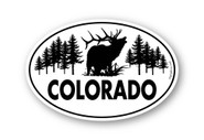 Classic Elk Colorado 4x6 inch oval sticker