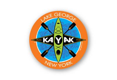 """Lake George Kayak Sticker 4"""" round"""