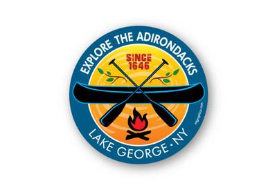 "Lake George Campfire Canoe Sticker 4"" round"