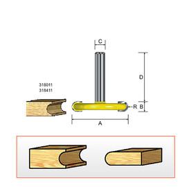 """Kempston 318012 - Canoe Bit - Bead, 1/8"""" Radius, 1/4"""" Shank"""