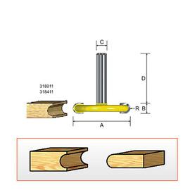 """Kempston 318411 - Canoe Bit - Flute, 1/8"""" Radius, 1/2"""" Shank"""