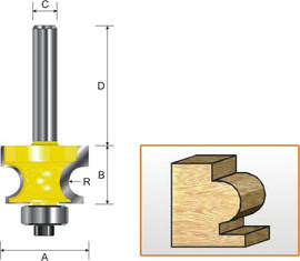 "Kempston 319021 - Edge Beading Bit, 1/8"" Radius"