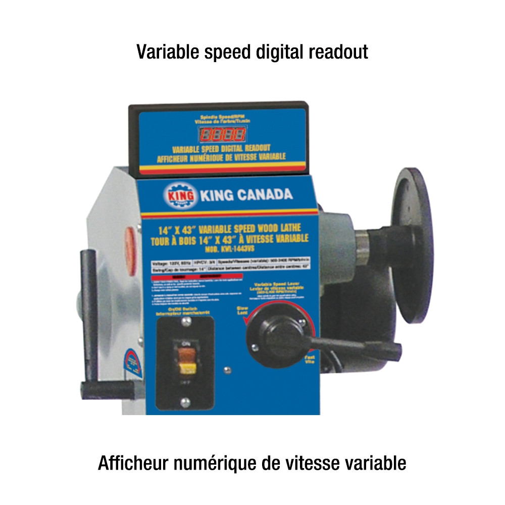 King Kwl 1443vs 14 X 43 Variable Speed Wood Lathe With Digital Readout