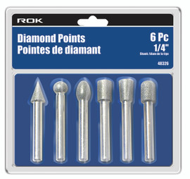 "Samona/ROK -  6 Pc Diamond Points 1/4"" Shank - 48326"