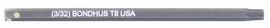 """Bondhus 32008 - T8 ProHold Torx Bit, 2"""" Length - Stock Size: 3mm"""
