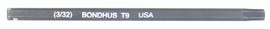 """Bondhus 32009 - T9 ProHold Torx Bit, 2"""" Length - Stock Size: 3mm"""