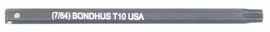 """Bondhus 32010 - T10 ProHold Torx Bit, 2"""" Length - Stock Size: 3mm"""