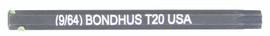 """Bondhus 32020 - T20 ProHold Torx Bit, 2"""" Length - Stock Size: 4mm"""