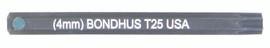 """Bondhus 32025 - T25 ProHold Torx Bit, 2"""" Length - Stock Size: 4mm"""