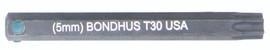 """Bondhus 32030 - T30 ProHold Torx Bit, 2"""" Length - Stock Size: 5mm"""