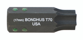 """Bondhus 32070 - T70 ProHold Torx Bit, 2"""" Length - Stock Size: 17mm"""