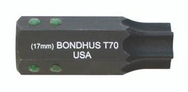 """Bondhus 32080 - T80 ProHold Torx Bit, 2"""" Length - Stock Size: 19mm"""
