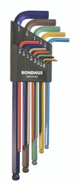 "Bondhus 69637 - 13 Piece ColorGuard Ball End L-Wrench Set - Extra Long Arm (.050-3/8"")"