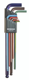 Bondhus 69699 - 9 Piece ColorGuard Ball End L-Wrench Set - Extra Long Arm (1.5-10mm)