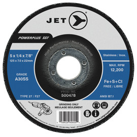 Jet 500478 - 5 x 1/4 x 7/8 A30SS POWERPLUS SST T27 Grinding Wheel