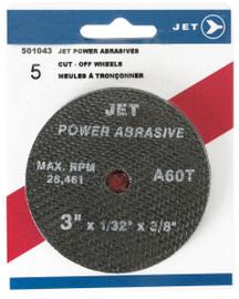 Jet 501043 - 3 x 1/32 x 3/8 A46T POWER ABRASIVE T1 Cut-Off Wheel (5/Pack)