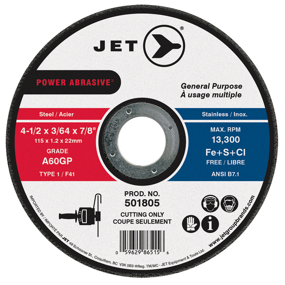 Jet 501805-4-1//2 X 3//64 X 7//8 A60Gp Power Abrasive T1 Cut-Off Wheel