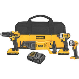 DeWALT DCK420D2 - 20V MAX 4 TOOL (DCD780, DCF885, DCS381 RECIP, DCL040) W/ 2 BATTERIES (2.0AH) AND BAG