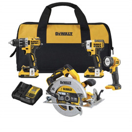 DeWALT DCK483D2 - 20V MAX XR 4 TOOL (DCD791, DCF887, DCS570 CIRC, DCL040) W/ 2 BATTERIES (2.0AH) AND BAG