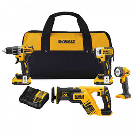 DeWALT DCK484D2 - 20V MAX XR 4 TOOL (DCD791, DCF887, DCS367 RECIP, DCL040) W/ 2 BATTERIES (2.0AH) AND BAG