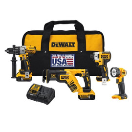 DeWALT DCK494P2 - 20V MAX XR 4 TOOL (DCD996, DCF887, DCS367 RECIP, DCL040) W/ 2 BATTERIES (5.0AH) AND BAG