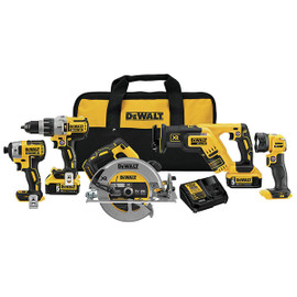 DeWALT DCK594P2 - 20V MAX XR 5 TOOL (DCD996, DCF887, DCS367 RECIP, DCS570 CIRC, DCL040) W/ 2 BATTERIES (5.0AH) AND BAG