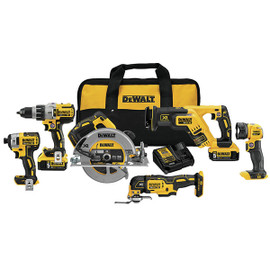 DeWALT DCK694P2 - 20V MAX XR 6 TOOL (DCD996, DCF887, DCS367 RECIP, DCS570 CIRC, DCS355 OSCILLATING, DCL040) W/ 2 BATTERIES (5.0AH) AND BAG