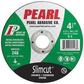 "Pearl CW0732Z - 7 X .062 X 7/8"" Type 1 Zirconia Thin Cut-Off Wheels, Box Of 25"