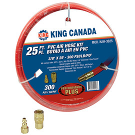 "King Canada KAH-3825 - 3/8"" x 25' PVC reinforced air hose kit"