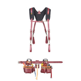 Kuny's 21453+21522 - 18 Pocket Top of the Line Pro Framer's Heavy Duty Leather Combo System with Suspenders