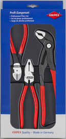 Knipex 002010 - 3 Pc Power Pack: High Leverage Combination Pliers, High Leverage Diagonal Cutters, Cobra® High-Tech Water Pump Pliers